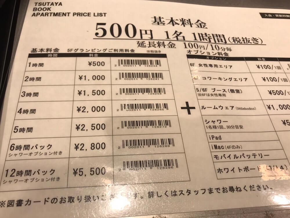 TSUTAYA BOOK APARTMENT 利用料金